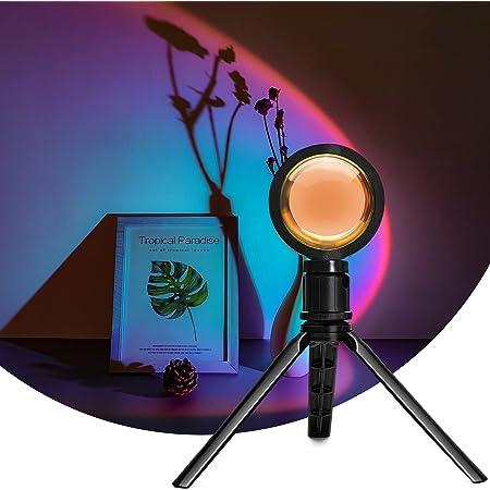 Sunset Projection Lamp, Lumière de coucher de soleil avec trépied, Luminosité Réglable LED Light Rainbow Lampe, Halo Lampes USB pour la Décoration de Salon Moderne, USB Lumières d'ambiance de Chambre