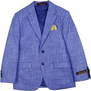 Alberto Boy's Regular Fit Formal 5 Piece Linen Suit Set with Shirt, Vest, Hanky, Tie