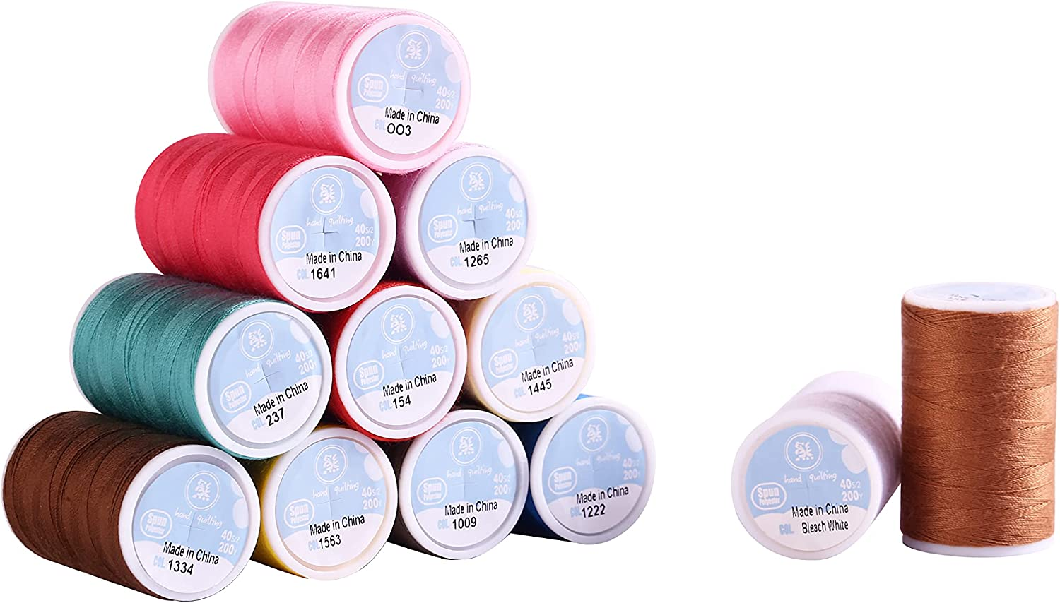 San Antonio Mall Sewing Threads Kit 12 National products Colors Polyester Spools for 200 Yards Per