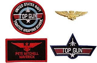 Maverick Top Gun Movie Costume Hook Patch (4pc With Pilot Aviator Wings Pin)