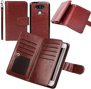 PS01 Premium Leather Folio Case Wallet Magnetic Detachable Removable Wristlet Purse Soft Multiple Card Slots Cover for LG G5