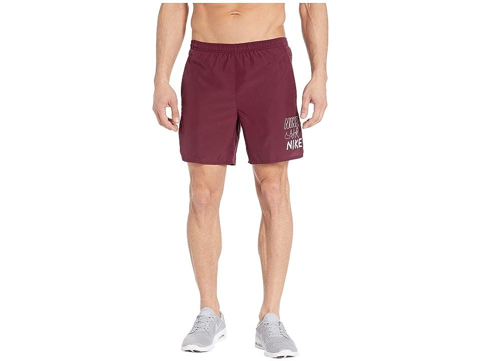 Nike Challenger Shorts 7 BF Graphics (Night Maroon/White) Men