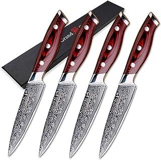 couteau Steak Couteau Set 4 pcs Couteaux de cuisine Damascus VG10 Damas Japonais Damas Steel Utility Couteaux 67 couches F...