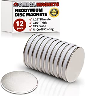 """Strong Neodymium Disc Magnets (12 Pack) - Powerful, Small, Round, Rare Earth Magnets - N45 Industrial Strength NdFeB Magnet Set for Fridge, DIY, Crafts - 1.26"""" x 0.08"""""""