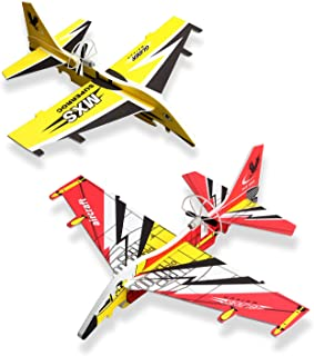 Airplane Toys for Kids 2 Pack Electric Auto Fly Model Plane Toys USB Rechargeable Hand Throw Foam Airplane Birthday Christ...