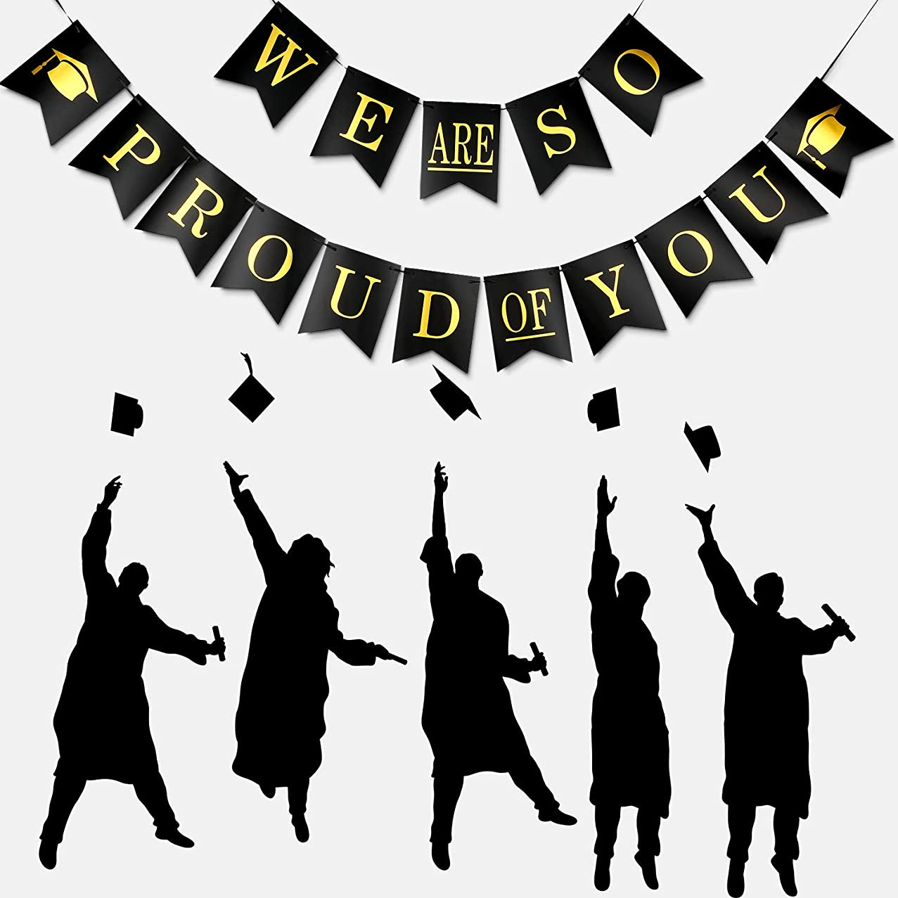 We are So Proud of You Banner Graduation Party Banner Proud of You Sign Banner for 2019 Graduation Parties Grad Party Decoration (Set 1)