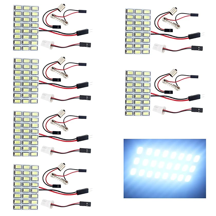 EverBrightt 6-Pack Cool White 5730 24SMD Led Panel Dome Light Auto Car Reading Map Light Bulb DC 12V with T10 / BA9S / Festoon Adapters