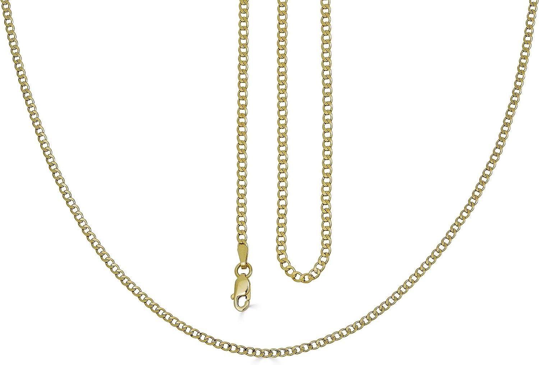 VESA JEWELS 14K Dainty Thin Yellow Solid Gold Italian Cuban Curb Chain Necklace 2.2MM Pure 14 Karat Gold Necklace, 16''-30'' Men Women Unisex Teens 14k Cuban Curb Chain Necklace