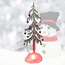 BANBERRY DESIGNS Light Up Tabletop Tree - White Frosted Acrylic Tree with Miniature Jingle Bell Ornaments - LED Slow Color...