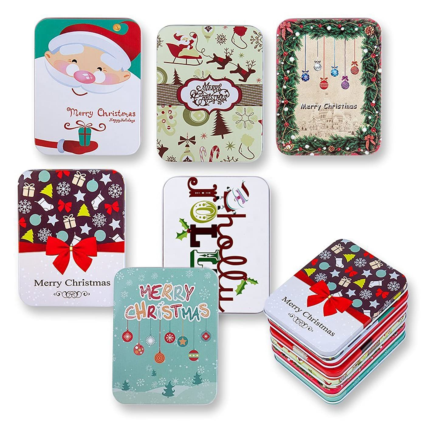 6 Pack Christmas Holiday Gift Card Tin Holders Box Set by Gift Boutique
