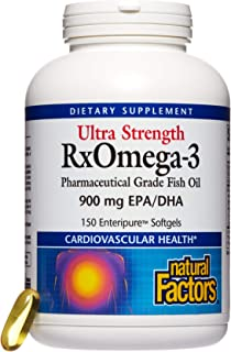 Natural Factors, Ultra Strength RxOmega-3 Fish Oil, Supports Cardiovascular and Brain Health with Omega-3 DHA and EPA, 150 softgels (150 servings)