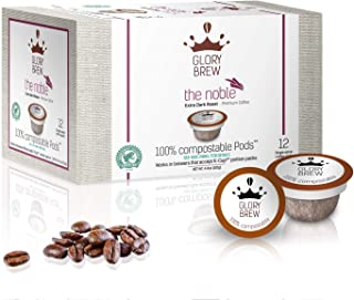 GLORYBREW - The Noble- 72 count 100% Compostable Coffee Pods for Keurig K-Cup Coffee Brewers - Rainforest Alliance certified– Extra Dark Roast | Better than Recyclable and Biodegradable Coffee Pods