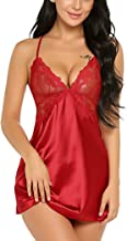 Avidlove Women Lingerie V Neck Nightwear Satin Sleepwear Lace Chemise Mini Teddy