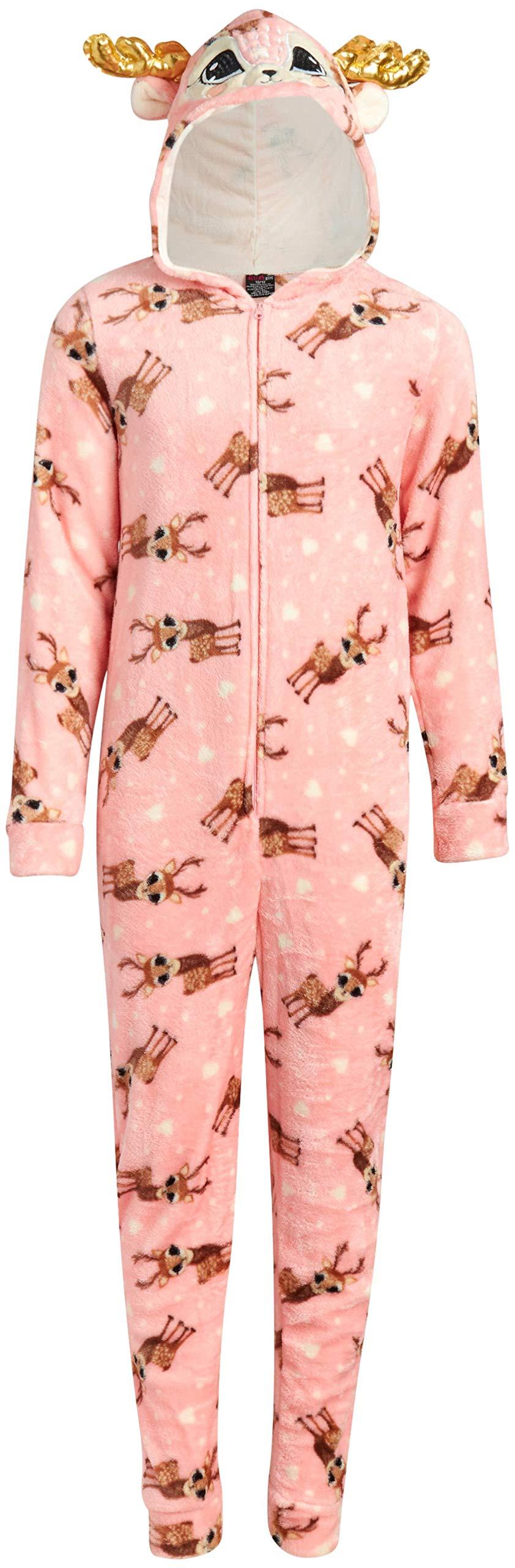Image of Pink Hooded Antler Reindeer Onesie Pajamas for Girls