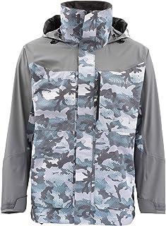 Simms Challenger Waterproof Fishing Jacket – Breathable Rain Coat – Sport Angler Windbreaker - Adjustable Hood & Fleece Lined Multi Pocket – Water Resistant Zippers