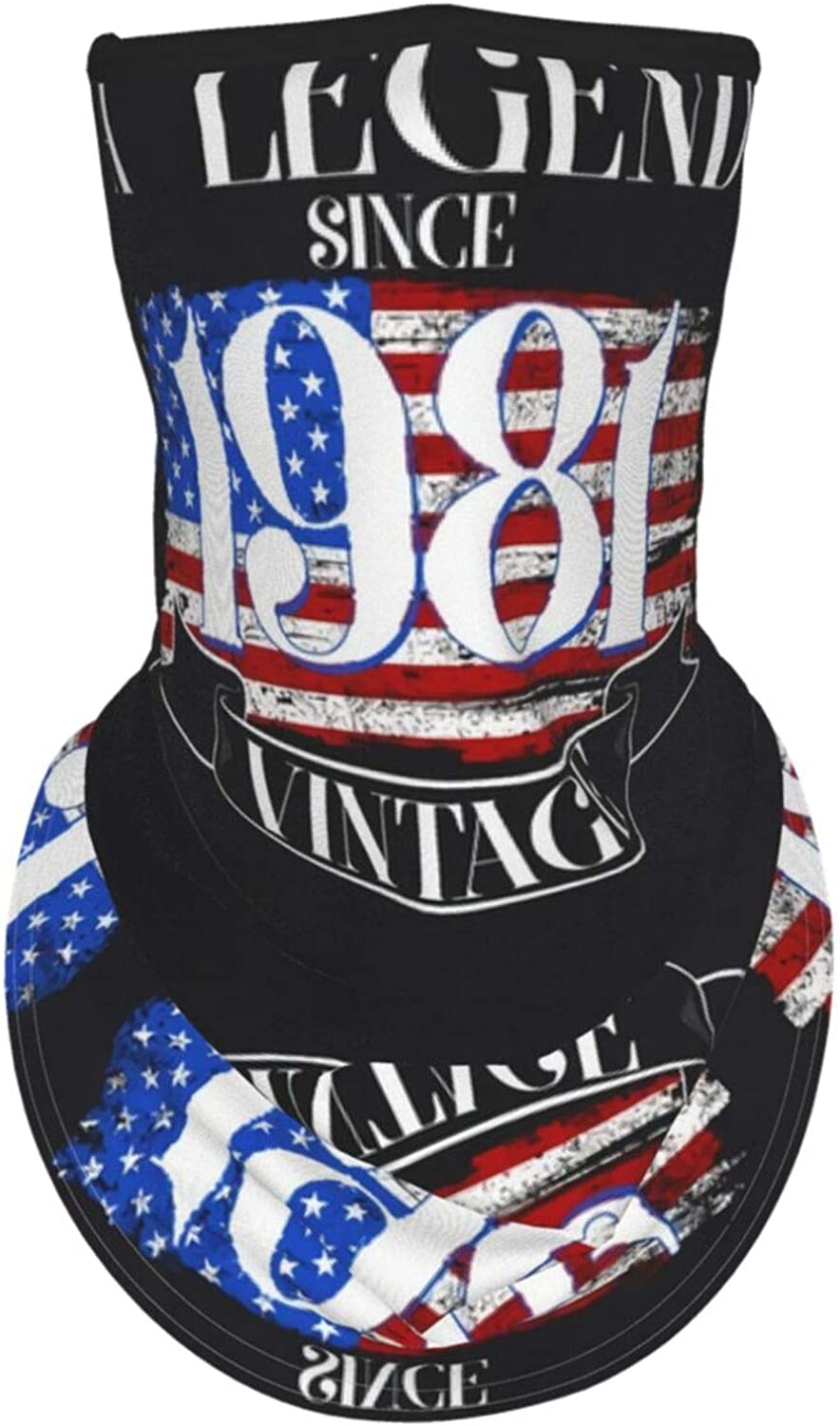 Ear Hangers Face Balaclava 40th Birthday Legend Since 1981 Vintage Usa Flag Black Protective Cover Wristband Bandanas Neck Gaiter Dust-Proof,Anti-Pungent Gas,Washable
