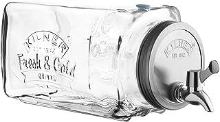 Kilner - Dispensador de bebidas de cristal para frigorífico, con escala de medición y grifo de fácil vertido, 32,7 x 14 x 18 cm, 3 litros