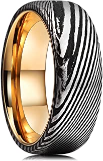 King Will WARRIORS 8mm Mens Damascus Steel Wedding Ring Gold Plated Innerface Comfort Fit 7-14