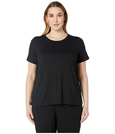 Eileen Fisher Plus Size Lightweight Viscose Jersey Round Neck Cap Sleeve Tee (Black) Women
