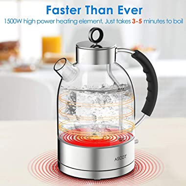 Electric Kettle, ASCOT Electric Tea Kettle 1.7QT, 1500W Glass Electric Kettle,Silver Stainless Steel, BPA-Free, Cordless, Aut