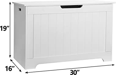 JungleA 30 Inches Wooden Storage Bench Toy Chest 150L Storage Space Toy Box Chest Ottoman Bench Foot Rest Seat for Bedroom an