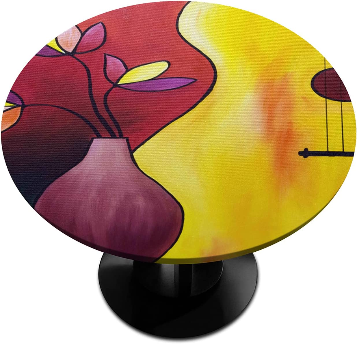 Round Fitted Tablecloth with service Elastic Guitar Vase Max 60% OFF Abstract Edged