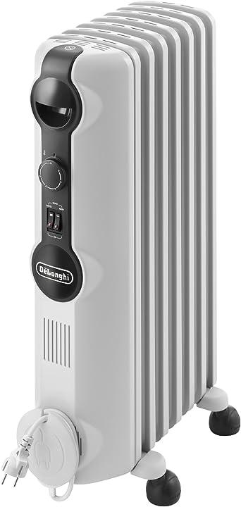 Radiatore ad olio elettrico, 7 elementi, 1500 w, bianco de`longhi trrs0715