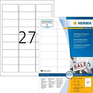 HERMA Etichette Staccabili, 63,5 x 29,6 mm, Etichette Adesive A4 per Stampante, 27 Etichette per Foglio, Bianco