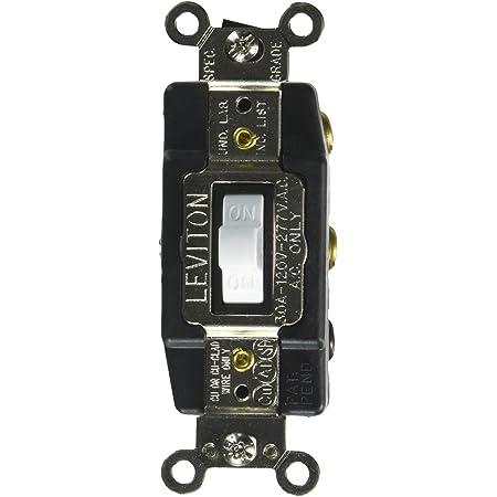 Leviton 1288-W 30-Amp 120-Volt Toggle Double-Pole Ac Quiet Switch,White, , White