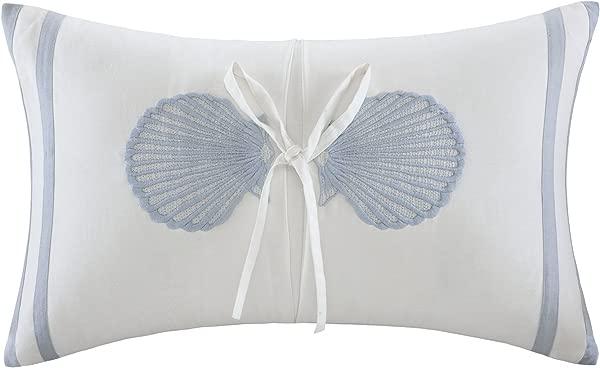 Harbor House Crystal Beach Embroidered Fashion Cotton Throw Pillow Coastal Theme Oblong Decorative Pillow 12X20 White