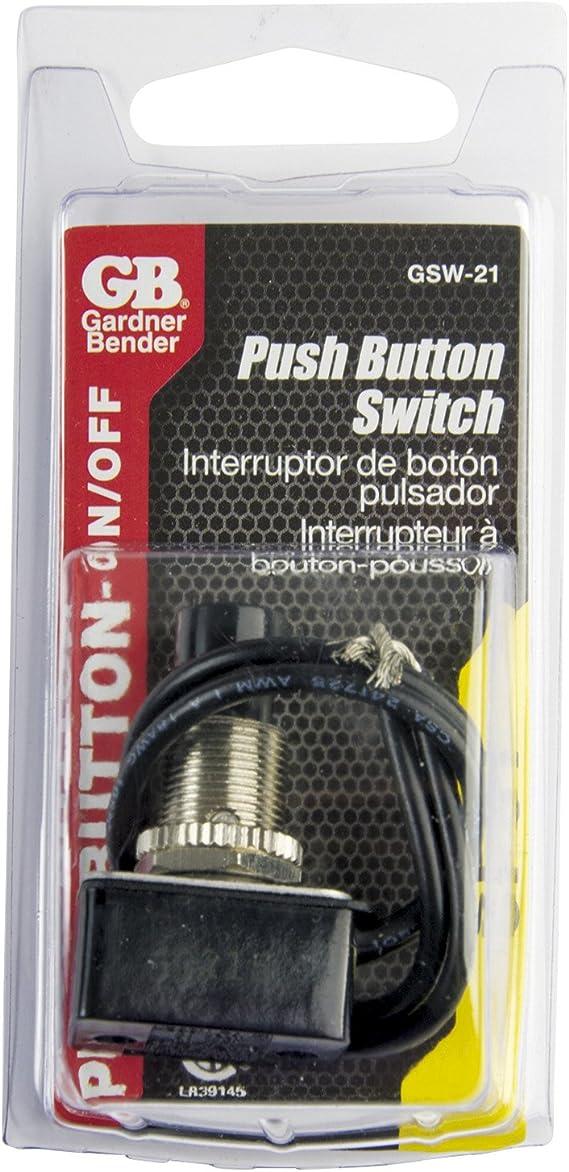 Gardner Bender Push Button Momentary Switch Black 1 PK for sale online