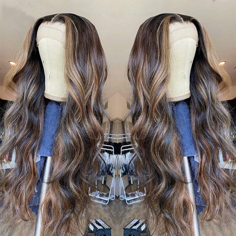 QUINLUX WIGS Honey Blonde 25% OFF Highlight Color Body Hair OFFicial Human W wave