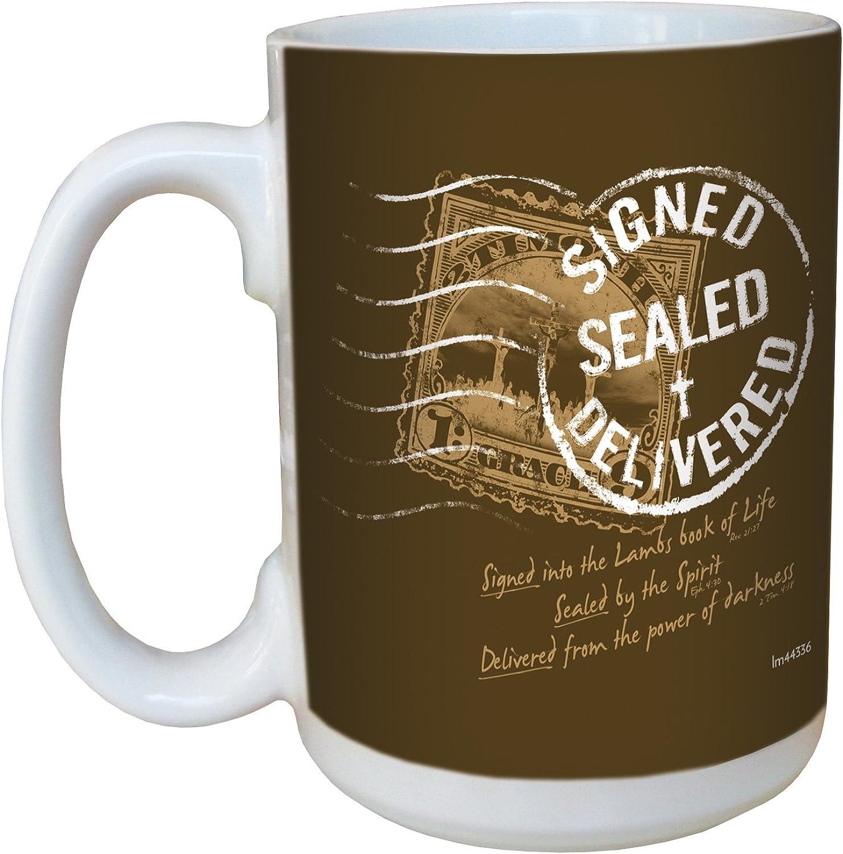 TreeFree Greetings lm44336 Signed Sealed Delivered  Ephesians 4 30 Ceramic Mug with FullSized Handle, 15Ounce