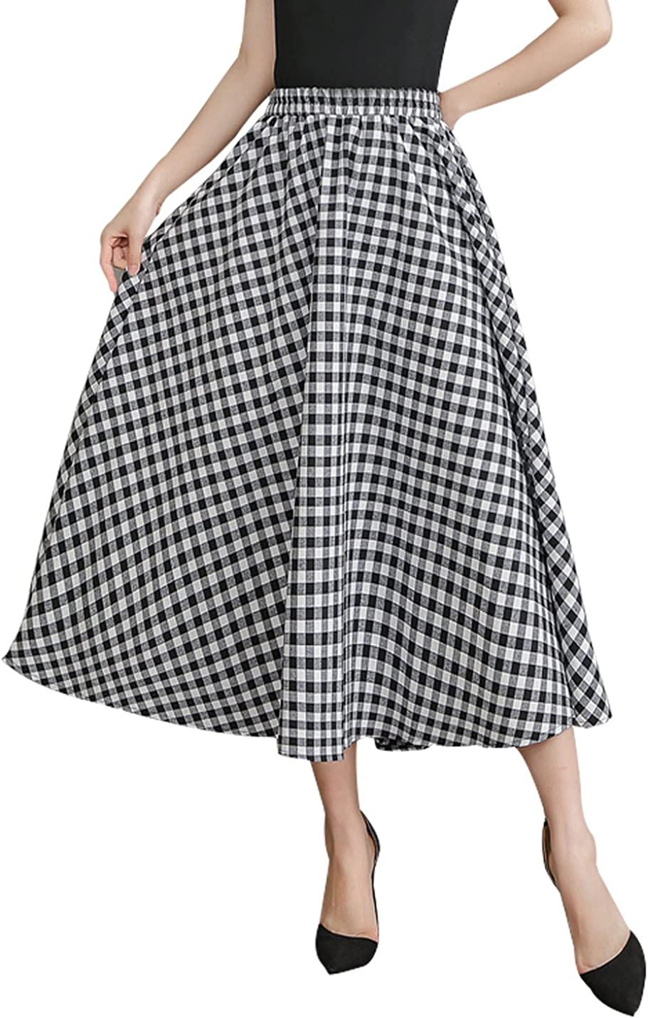 Gihuo Women's Casual Elastic Waist Cotton Linen A Line Swing Plaid Skirt Ankle Length