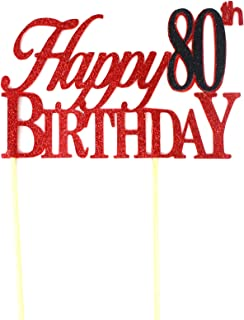 All About Details Happy 80th Birthday Cake Topper,1pc, 80th Birthday, Cake Decoration, Party Decor (Red & Black)