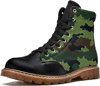 LORVIES Motif de Camouflage Militaire Vert foncé Bottes d'hiver Chaussures Montantes en Toile à Lacets pour Hommes
