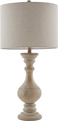 "Martha Stewart Carra Table Lamp Living Room Decor - Curved Resin Base, White Drum Shade, Modern Home Office Desk Lighting, Nightstand Reading Light for Bedroom, 15"" X 15"" X 29.5"", Natural"