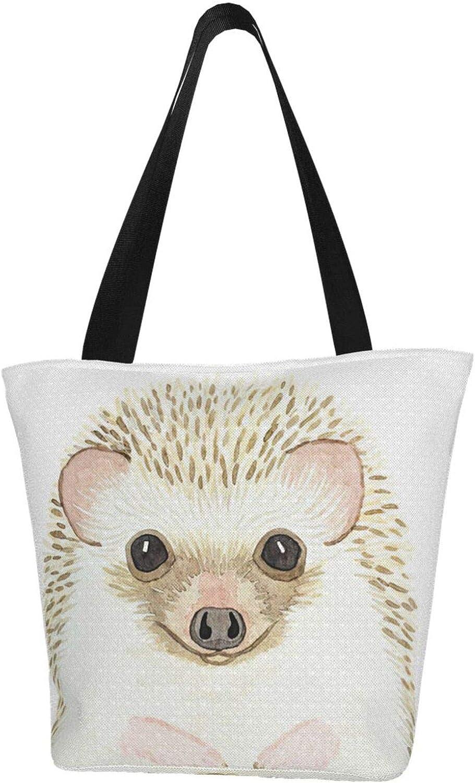 Hedgehog Watercolor Animal Cute Themed Printed Women Canvas Handbag Zipper Shoulder Bag Work Booksbag Tote Purse Leisure Hobo Bag For Shopping
