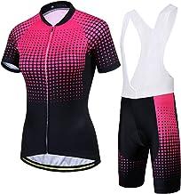 Dames Fietsshirt Set, Zomer Dame Korte Mouw MTB Racefiets Fietsbroek, Sneldrogende Fietskleding (Color : E, Grootte : XXX-...