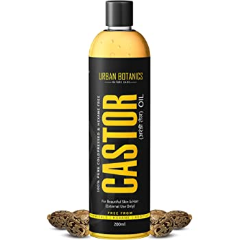 UrbanBotanics® Cold Pressed Castor Oil for Hair Growth, Skin Care, Moisturising Dry Skin, Nails, Eyelash - Virgin Grade - Organic - 200ml