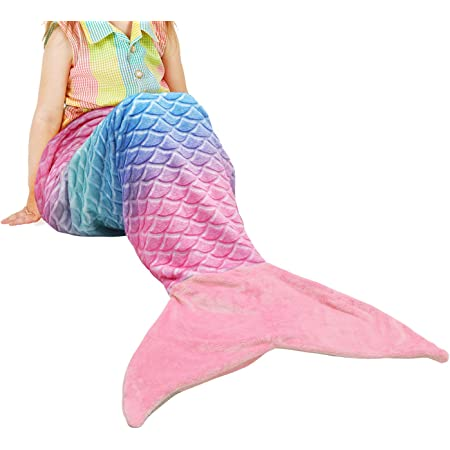 Catalonia Kids Mermaid Tail Blanket, Super Soft Plush Flannel Sleeping Snuggle Blanket for Teen Girls, Rainbow Ombre, Fish Scale Pattern, Gift Idea