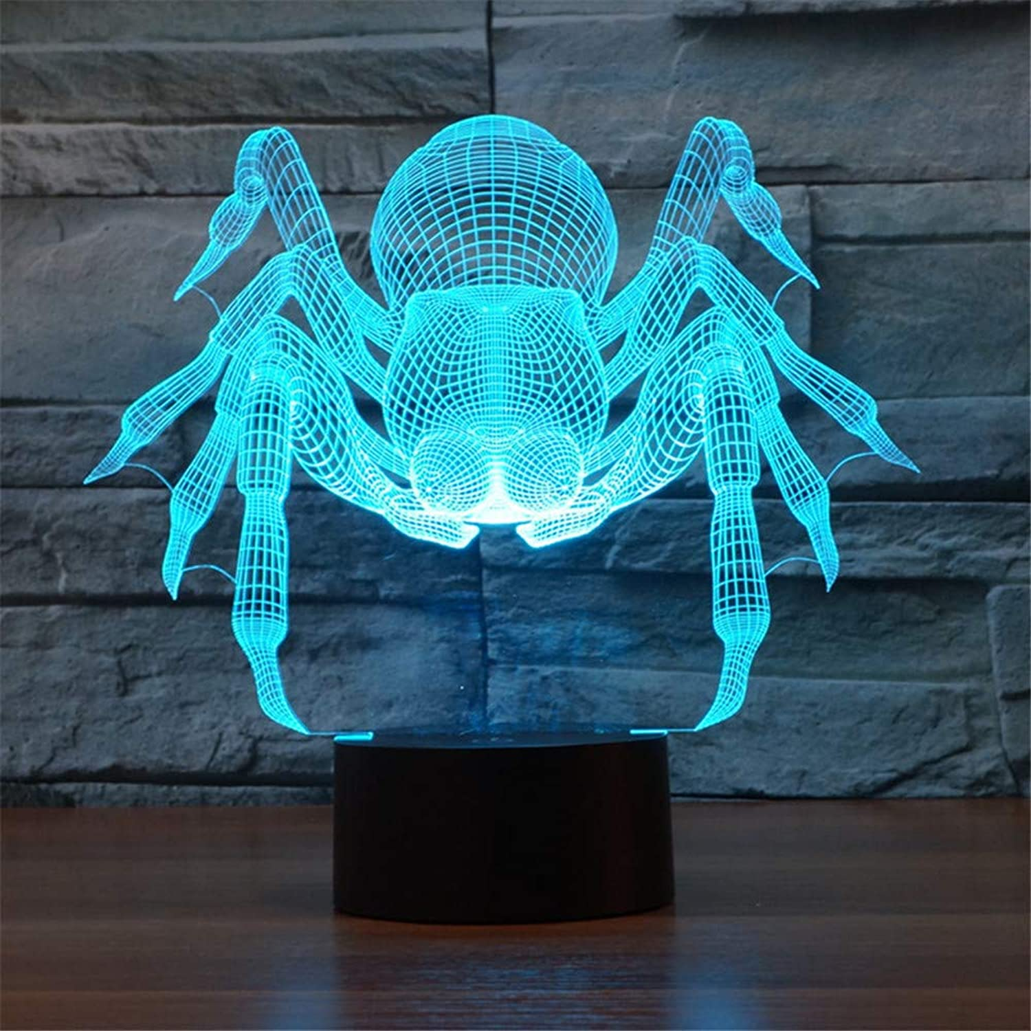 3D LED Night Light Table Desk Lamps 3D Optical Illusion Visual Lamp 7 colors Touch Table Desk Lamp for Christmas Birthday Gift Spider