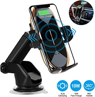 Wireless Car Charger, HonShoop Auto-Clamping 10W 7.5W Fast Charging Car Phone Holder Air Vent Compatible with iPhone X/XR/Xs/Xs Max/8/8 Plus ect(Glod)