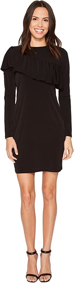 MICHAEL Michael Kors - Asymmetrical Ruffle Long Sleeve Tee Dress