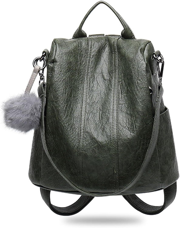 JM Leather Shoulder Bag Female Korean Version Wild Leather Bag Travel and Leisure Soft Leather AntiTheft Backpack (color   B)