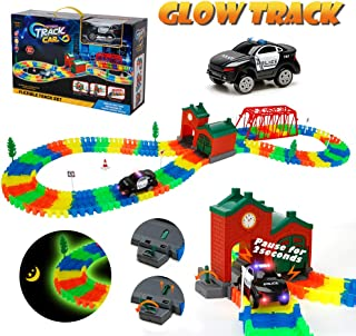 URTOYPIA Glow in The Dark Race Car Track for Boys, 172pcs Flexible Bendable Racetrack with Light-Up Police Car Toy Educational Gift for Toddler Kids of 3 Years Old and Up