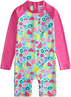 OwlFay Girls Fruit Print One Piece Swimsuit Swimwear Kids Long Sleeve Rash Guard Sunsuit Surfing Beachwear Bathing Suit 2-10T