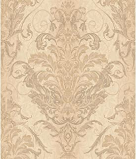 York Wallcoverings AR7752 Charleston Ombre Damask Stripe Wallpaper, Gold/Grey/Pale Yellow/Tan
