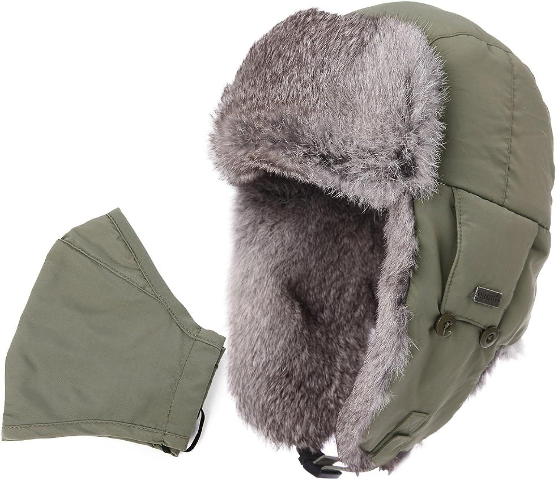 SIGGI 100% Rabbit Fur Trapper Ushanka Russian Hat Nylon Shell Waterproof Unisex