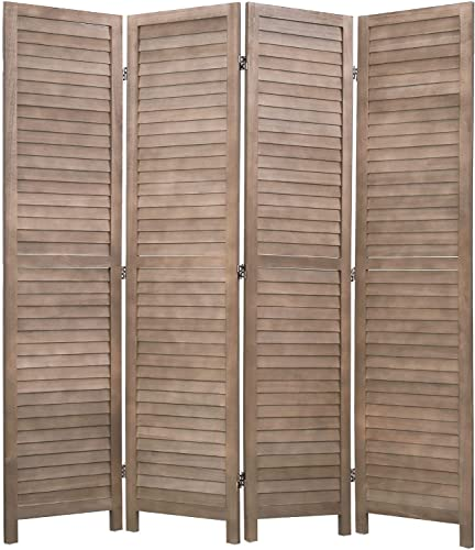 """lowest 4 Panel Wood Room outlet sale Divider 5.75 Ft Tall sale Privacy Wall Divider 68.9"""" x 15.75"""" Each Panel Folding Wood Screen for Home Office Bedroom Restaurant (Brown) online"""